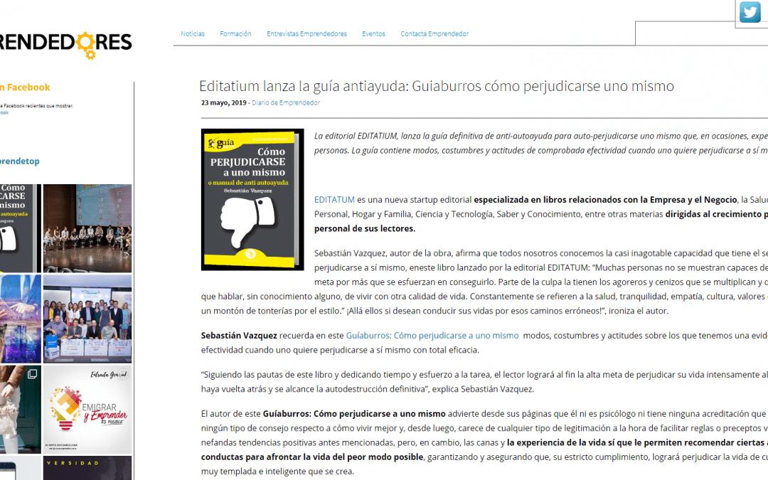 Top Emprendedores publica una reseña sobre el GuíaBurros: Cómo perjudicarse a uno mismo, de Sebastián Vázquez